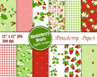 Strawberry Paper, Strawberry Digital Paper, Strawberry, Summer Paper, Printable, Commercial Use