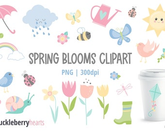 Spring Clipart, Springtime Clipart, Flower Clipart, Printable, Small Commercial Use, #CP588