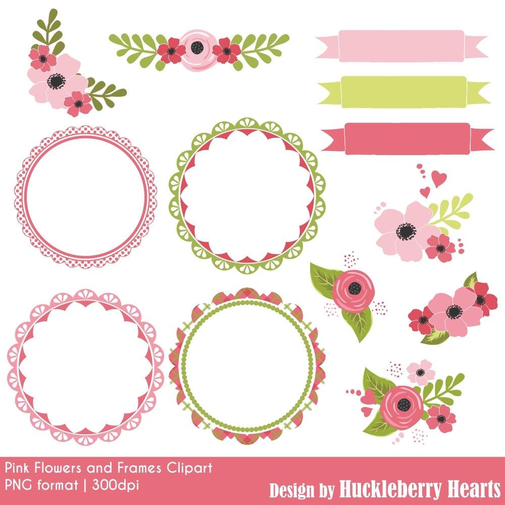 Flower Clipart Flower Clip Art Pink Frames Frame Clipart Etsy