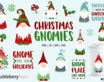 Christmas Clipart, Christmas Gnomes, Christmas SVG, Gnome Clipart, Printable, SVG, Commercial Use, #CP547