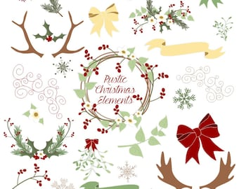Christmas Clipart, with Antlers, Holly, Pine, Mistletoe, Berries, Holiday Flowers, Banners and Bows, Vector