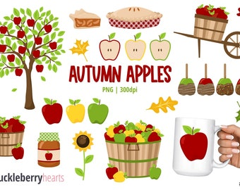 Apple Clipart, Fall Clipart, Candy Apples, Caramel Apples, Fall Apples, Autumn, Printable, Commercial Use, #CP688