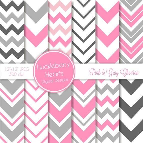 Pink And Gray Chevron Digital Scrapbook Paper Chevron Etsy