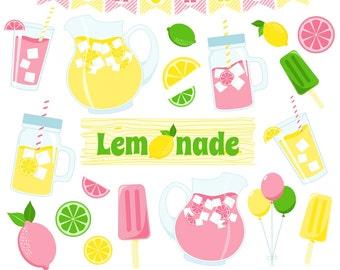 Lemonade Clipart, Lemon Clipart, Pink Lemonade, Lemonade Stand, Printable, Commercial Use