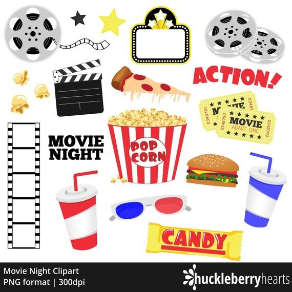 Movie Clipart Movie Night Clip Art Popcorn Clipart Cinema Theatre Printable Commercial Use