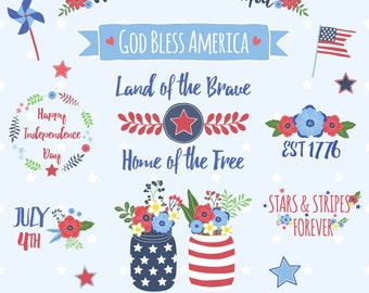 Fourth of July Clipart, Independence Day Clipart, America Clipart, Printable, Commercial Use