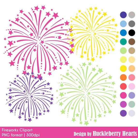 Fireworks Clip Art Feux Dartifice Numeriques Fireworks Etsy