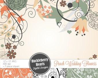 Peach and Teal Wedding Flowers Scrapbook Paper, Clip Art, Backgrounds, Digital Paper Set
