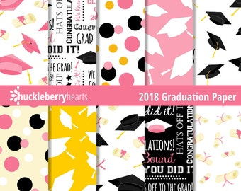 Class of 2018, Graduation Paper, Digital Scrapbook Paper, Graduation Digital Paper, Printable, Commercial Use