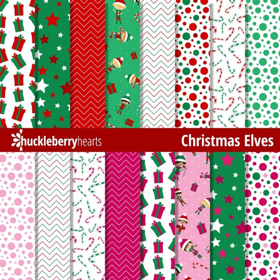 Christmas Scrapbook Paper.Christmas Digital Paper Christmas Scrapbook Paper Digital Christmas Patterns Elves Printable Commercial Use