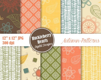 Autumn Paper, Fall Paper, Fall Scrapbook Paper, Flower Paper, Floral Paper, Flower Patterns