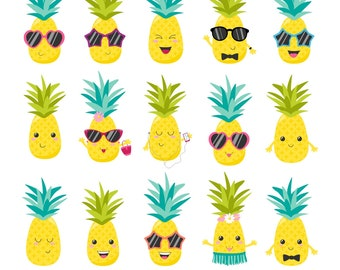 Pineapple Clipart, Pineapple Graphics, Summer Clipart, Pineapples, Printable, Commercial Use