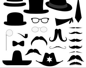 Mustache, Moustache and Hat Clipart, Digital Moustache, Digital Mustache, Digital Hats, Silhouettes, Retro, Vintage, Hipster