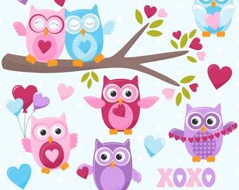 Valentine's Day Clipart, Valentine Clip Art, Owl Clipart, Valentine Owls, Digital Owls