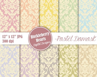 Digital Damask, Damask Digital Paper, Pastel Damask