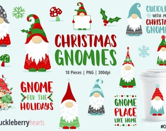 Christmas Clipart, Christmas Gnomes, Gnome Clipart, Printable, Small Commercial Use, #CP546