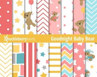 Teddy Bear Digital Paper, Teddy Bears, Digital Scrapbook Paper, Seamless Patterns, Printable, Commercial Use