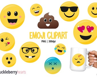 Emoji Clipart, Smiley Face Clipart, Faces, Printable, Commercial Use, #CP656