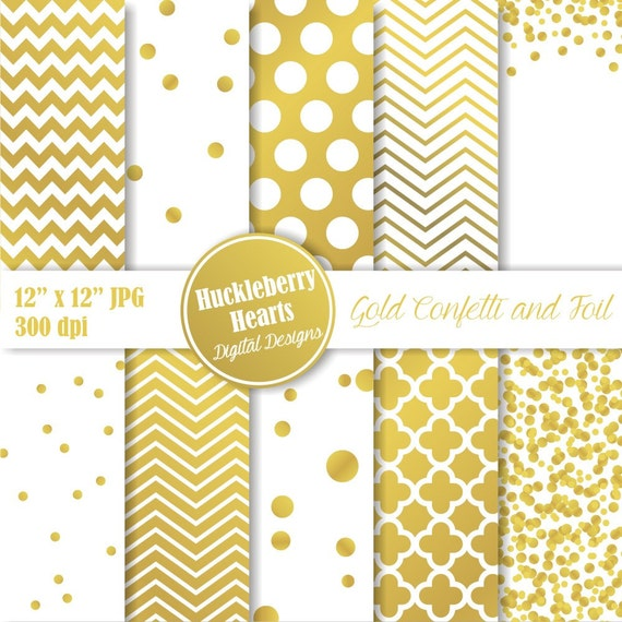 Gold Confetti And Foil Digital Paper Digital Scrapbook
