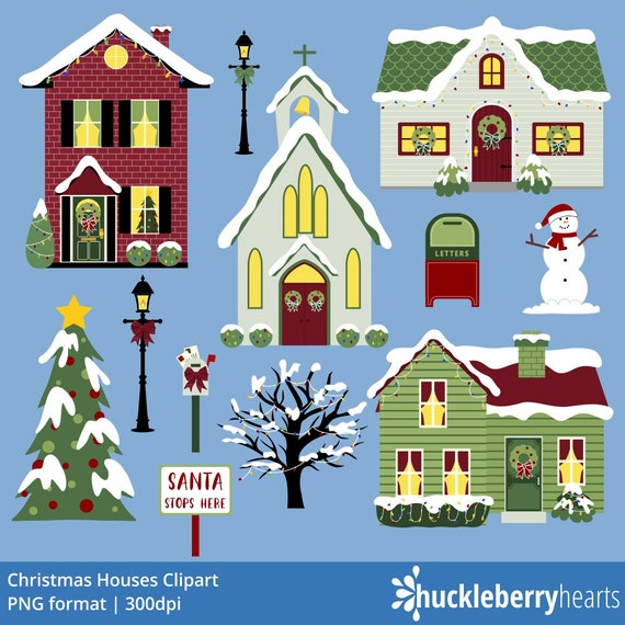 Christmas Houses Village.Christmas Houses Clipart Christmas Village Clipart Christmas Clipart Printable Commercial Use