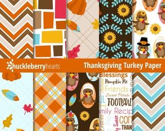 Thanksgiving Digital Paper, Scrapbook Paper, Turkeys, Printable, Commercial Use