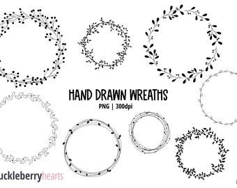 Wreath Clipart, Hand Drawn, Digital Wreaths, Wedding Clipart, Floral, Leaves, Printable, Commercial Use, #CP684