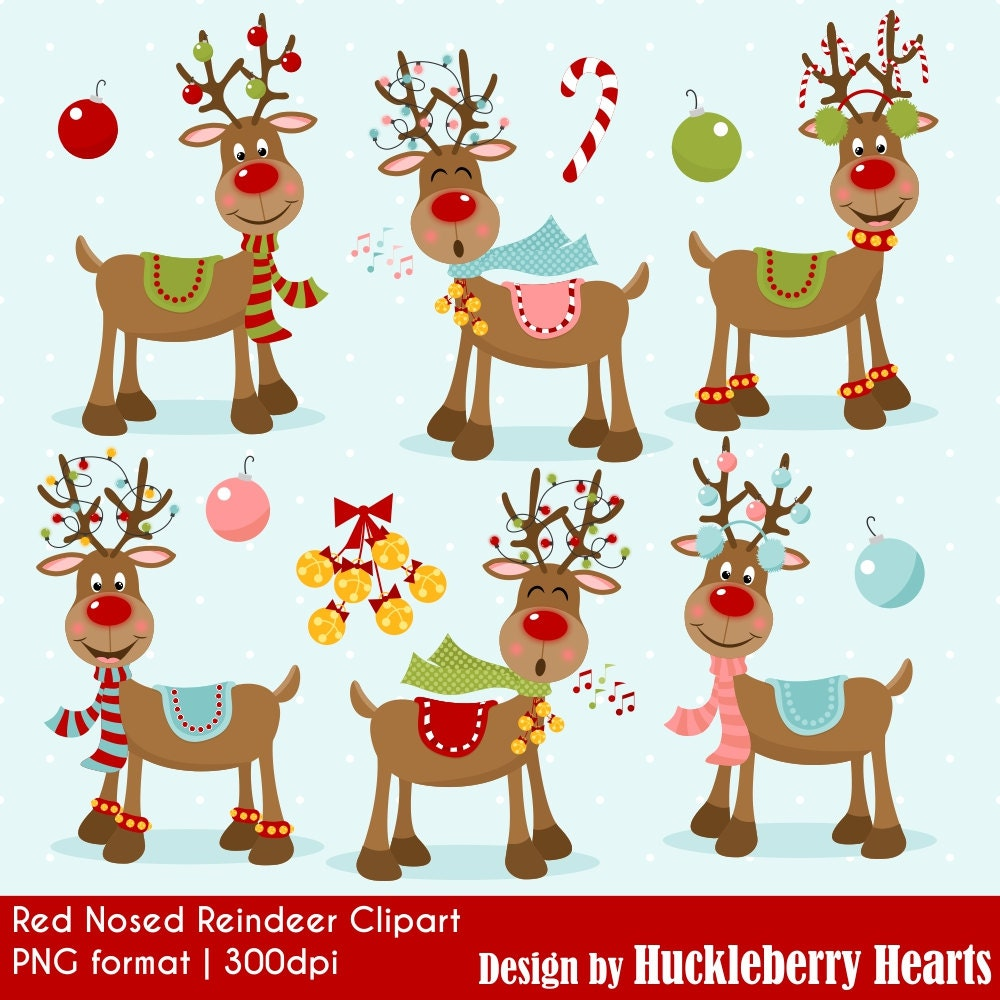 Reindeer Clipart Christmas Clipart Rudolph Red Nosed | Etsy
