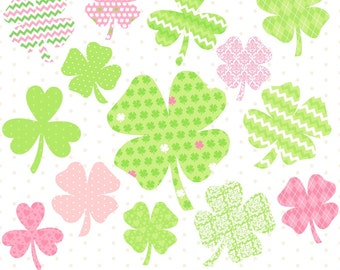 Digital Shamrocks, St Patricks Day Clipart, Shamrock Clipart, St Pattys Day