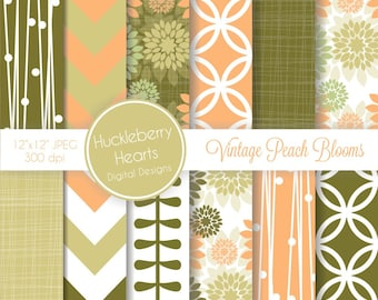 Vintage Peach Blooms Digital Scrapbook Paper or Background with Peach, Mint and Olive Green