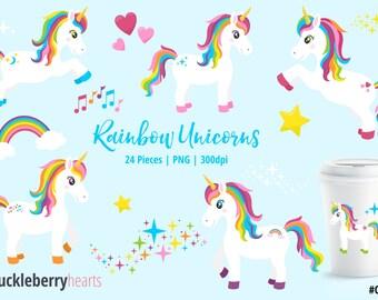 Unicorn Clipart, Unicorn Clip Art, Pony, Horse, Girl, Rainbow, Printable, Commercial Use, #CP542
