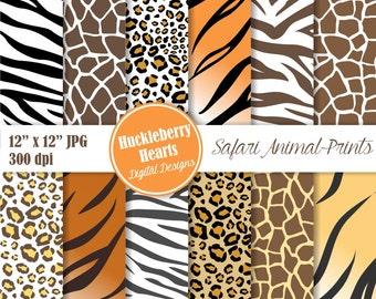 Safari Animal Prints Digital Paper, Zebra, Leopard, Cheetah, Tiger, Giraffe, Scrapbook Paper, Backgrounds