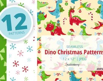Christmas Dinosaurs, Dinosaur Patterns, Digital Scrapbook Paper, Seamless, Printable, Digital Download, Commercial Use, #DP308