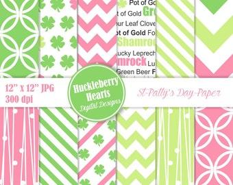 St Patricks Day Digital Paper, Scrapbook Paper, Backgrounds, Shamrocks Patterns, Printable