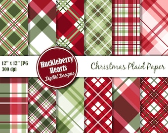 Christmas Plaid Digital Paper, Christmas Papers, Digital Plaid Paper, Printable, Commercial Use