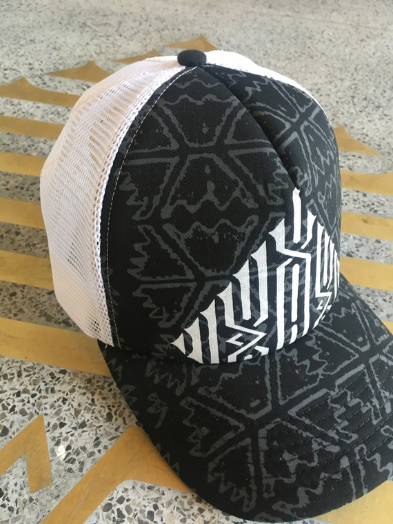 08fde37ae6a1b Black white Trucker Cap Hip Hop Hipster Hat Baseball Caps