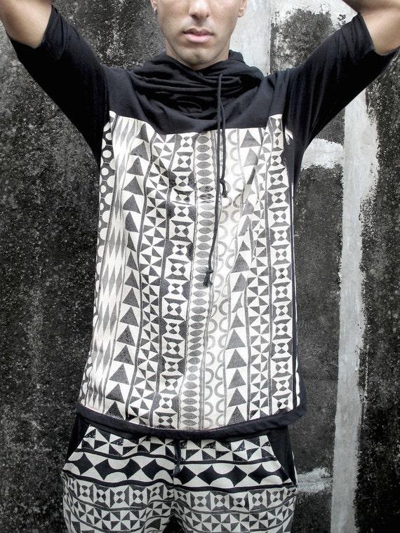 Sleeves Festival Hoodies Wear Neck Hooded Unisex Man Print Shirt Hoodies Hoodie Black Hoodie Screen Bohemian Half Man Men's Cowl B1ZR7wqv