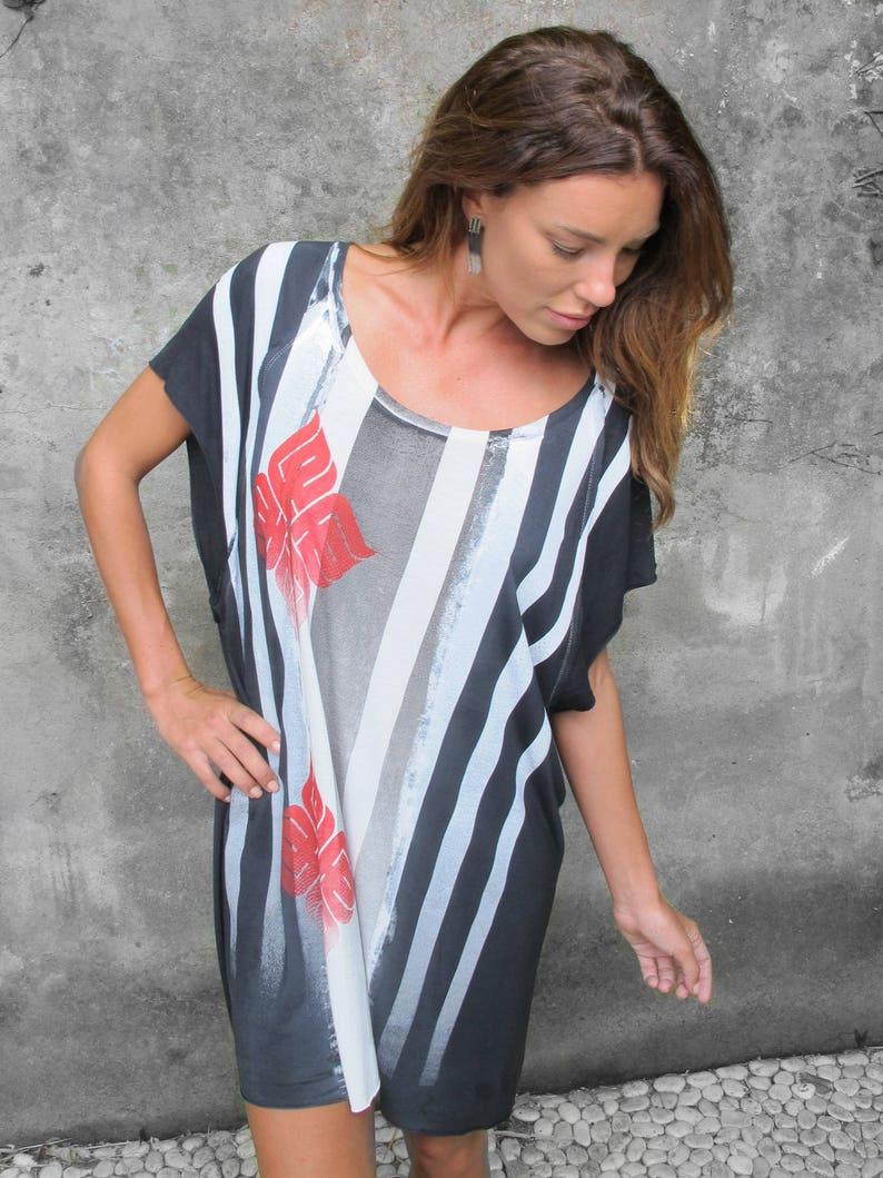 41257e74077 Black and White Loose fit Dress Boho Oversize Summer Dress