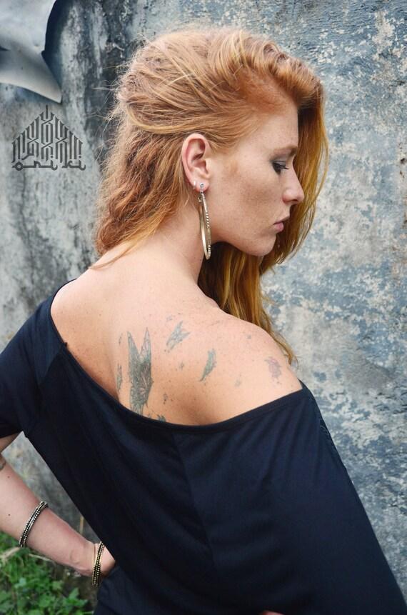 neck Women's open Blouse Shirt Woman's Black Women's Black top Tribal Loose Sexy top Off wear short Geometric Festival Shoulder oversize nOw6tPCxq