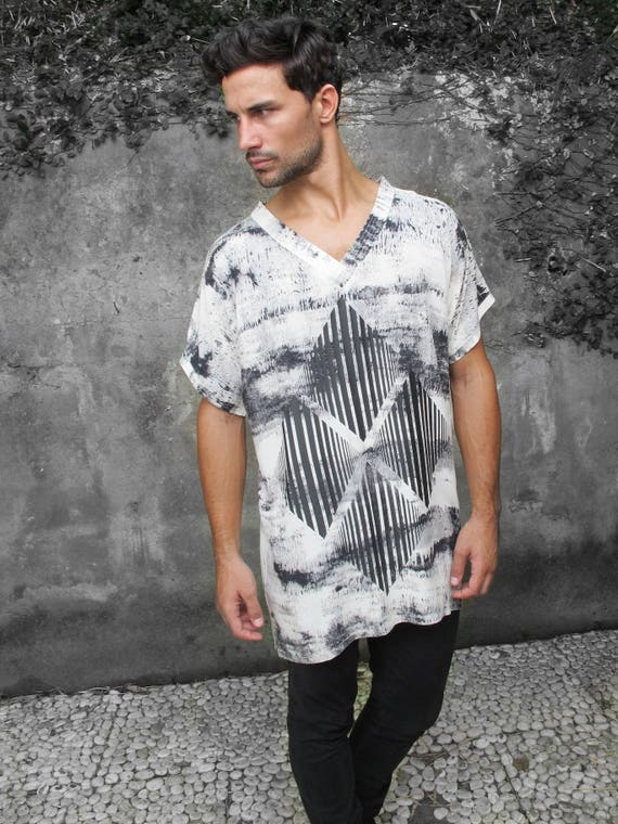 Grey Urban Man V Tribal Boho V Fashion Man Festival shirt shirt shirt Top Man Bohemian Top neck top Style Fashion Hippie neck rgn8nOI