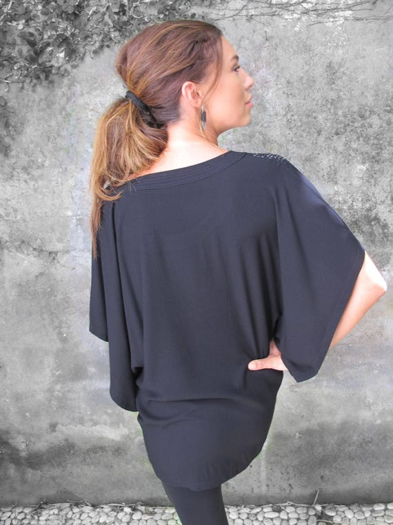 Dress Shirt Shirt Black Batwing Black Fit Woman's Boho Clothing Wide Top Blouse Ethnic Tunic Tunic Shirt Loose Oversize Shirt Loose 1X1qAvZxg