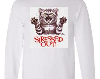 Tshirts:streesed out cat unisex Long sleeved shirts Cool Funny long-sleeve T Shirt  design sleeves