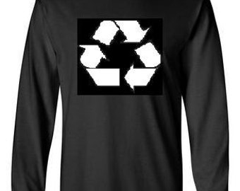 RECYCLE LOGO long sleeve Tshirts screen printed  longsleeved tee cool geek funny humor tee