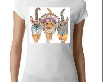 indian cats  t-shirt screen printed cool tee-shirt animals kittens cat