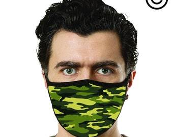 green camo print face mask cover your face C.Y.F