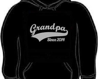 Hoodies: grandpa since 2014 hoodie sweatshirt grandfather present gift (silver grey ink )