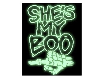 shes my boo skull hand glow in the dark T shirt  tee shirt t-shirts