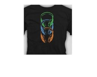mens tshirt head phones dj music club party disco dance t shirt funny s head phone