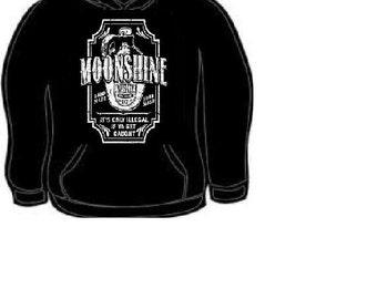 Hoodies: Moonshine Whiskey hand made  hoodie sweatshirt unisex cool moon shine