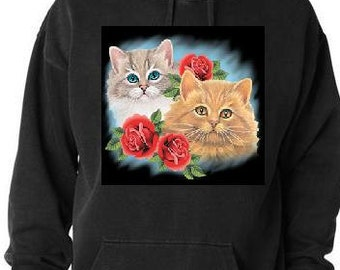 Hoodie shirts two cats with three roses screen printed cool hoodies  animals shirt cat hoody