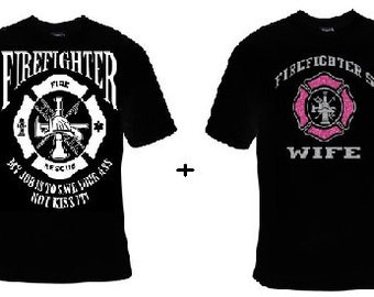 TShirts: Firefighters husband firefighter wife with glitter fire fighter  his hers Couples cute  t shirts Cool Funny couple soul mates gifts